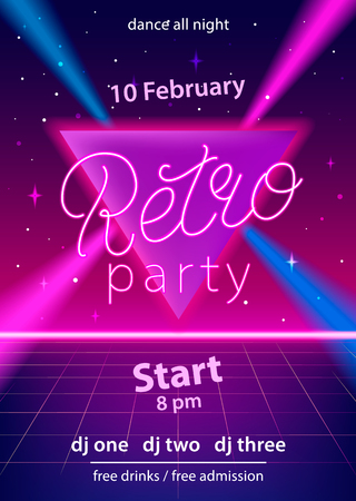 Retro party hand lettering design template with neon effect on triangle and laser beams. Use for flyer, banner, poster, invitation. 80s vintage style. Vector illustration. Illustration