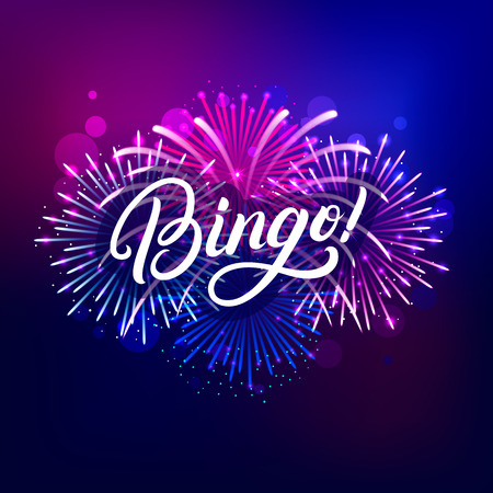 Bingo hand written lettering text with colorful fireworks and celebration background.