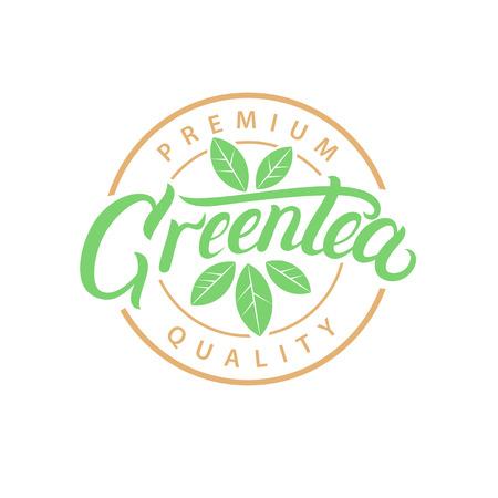 Green Tea hand written lettering logo