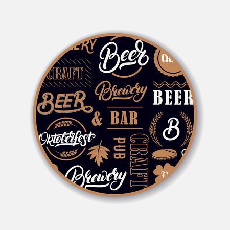 Coaster for beerl with hand written lettering.