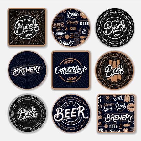 Set of 9 coasters for beer. Stock Illustratie