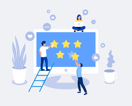 Rating, feedback, comments design concept. Man giving five star rating. Laptop screen with stars. Trendy flat style. Vector illustration.  イラスト・ベクター素材