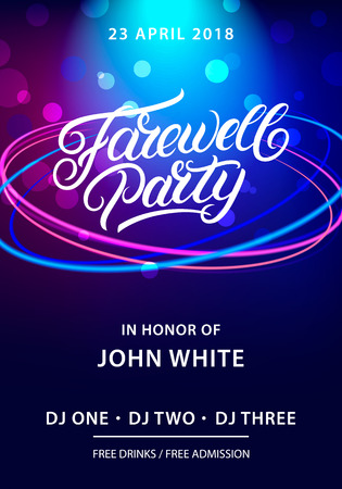 Farewell party hand written lettering. Invitation card, poster, banner template. Vector illustration Vettoriali
