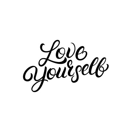 Love yourself hand written lettering quote. Modern brush calligraphy. Vector illustration.