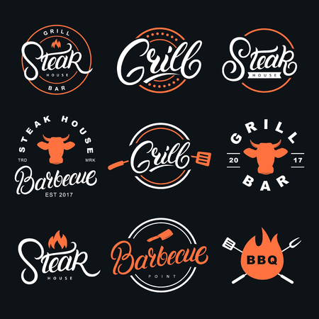 Set of hand written lettering badges, labels and logos for restaurant, foods shop, steak house, grill and barbecue. Vector illustration.