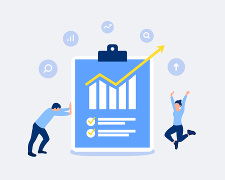 Data analysis and statistics design concept. Analysts shows a report with excellent indicators. Office workers rejoice at the result. Trendy flat style. Vector illustration.  イラスト・ベクター素材