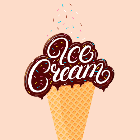Chocolate ice cream hand written lettering with brawn glaze and sprinkles. Ice cream cone isolated. Vector illustration. Illustration