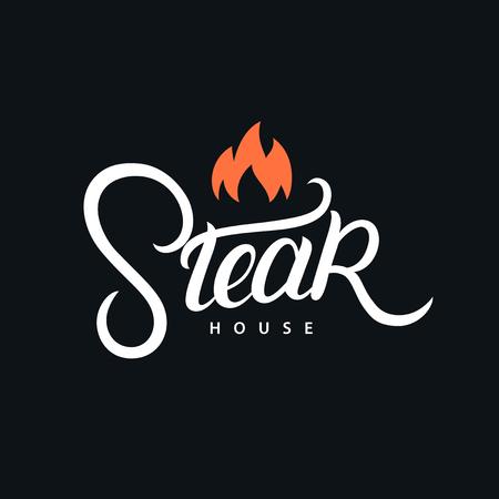 Steak house hand written lettering logo, label, badge. Vintage retro style. Vector illustration.