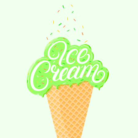 Pistachio ice cream hand written lettering with brawn glaze and sprinkles. Ice cream cone isolated. Vector illustration.