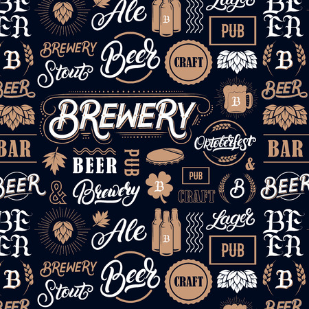 Pattern with hand written lettering words beer, brewery, oktoberfest and silhouettes of beer mug, bottle, hop, wheat ear. Vintage pattern for placemat, bar menu, prints, coaster. Vector.