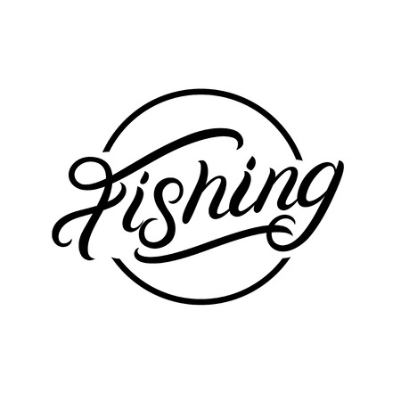 Fishing hand written lettering logo, label, emblem, sign. Isolated on background. Vector illustration