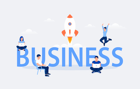 Business design concept. Business word with working people and flying rocket. Flat style. Vector illustration.