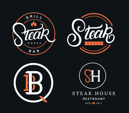 Set of Steak House hand written lettering badges, labels, logos and emblems for restaurant, foods shop, steak house, grill and barbecue. Vector illustration.