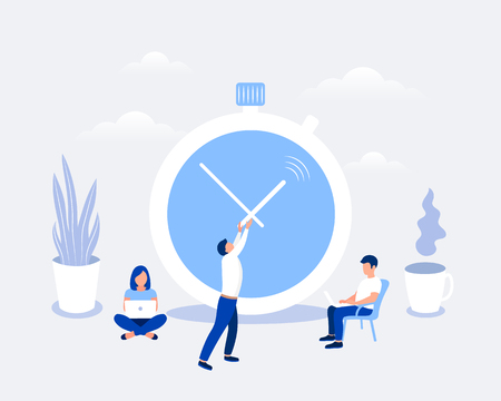 Time management and deadline design concept. Timer and office workers. Businessman is trying to stop time. Flat style. Vector illustration.