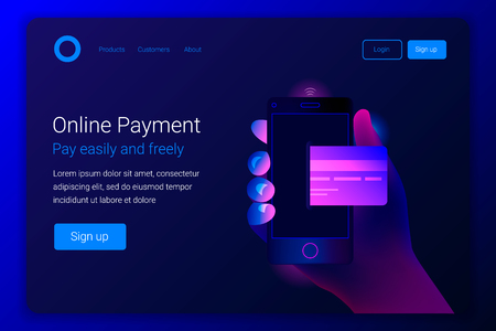 Online mobile payment concept. Hand holding mobile phone with credit card on the screen. Mobile payment, transaction or donation. Landing page template. Vector illustration.