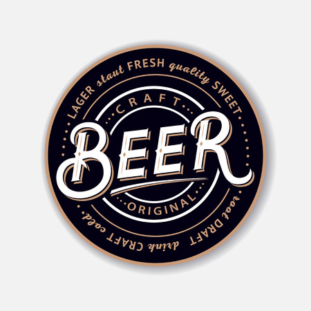Coaster for beerl with hand written lettering. Bierdeckel, beermat for bar, pub, beerhouse. Round stand. Vintage style. Vector Illustration. Stock Illustratie