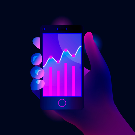 Market trend analysis on smartphone with line chart and graphs. Hand holds mobile phone. Design infographic, statistics on screen. Futuristic hi tech mobile technology concept. Trendy style. Vector. Illustration