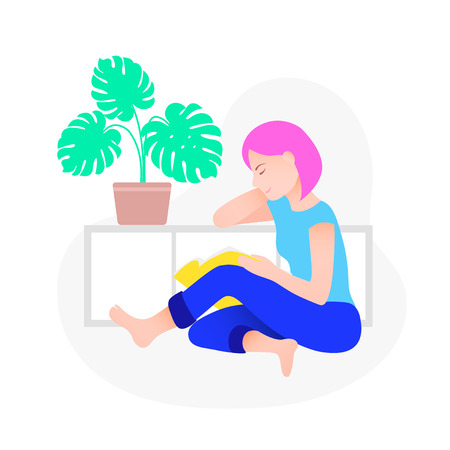 Woman reading book. Trendy style vector illustration.