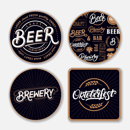 Set of coasters for beer with hand written lettering words. Bierdeckel, beermat for bar, pub, beerhouse. Round, square stand. Beer, brewery, oktoberfest hand written lettering. Vintage style. Vector Vectores