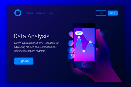 Futuristic hi tech mobile technology concept. Market trend analysis on smartphone with linear diagram. Hand holds phone. Design infographic, statistics on screen. Landing page template. Vector.