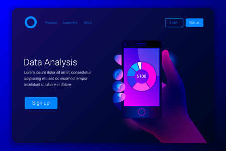 Futuristic hi tech mobile technology concept. Market trend analysis on smartphone with pie chart. Hand holds phone. Design infographic, statistics on screen. Landing page template. Vector.
