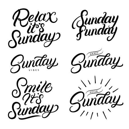 Sunday set hand written lettering quotes. Relax its sundeay. Hello, happy sunday. Smile its sunday. Modern brush calligraphy phrases. Inspirational quotes for card, photo overlays. Vector.