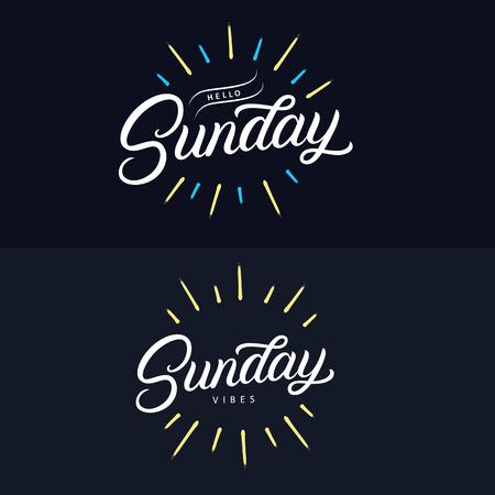 Domingo establece cotizaciones de letras escritas a mano. Relájate su sol. Hola, feliz domingo. Sonríe es domingo. Frases de caligrafía de pincel moderno con rayos de sol y explosión. Ilustración vectorial. Ilustración de vector