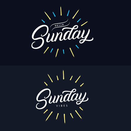 Sunday set hand written lettering quotes. Relax its sundeay. Hello, happy sunday. Smile its sunday. Modern brush calligraphy phrases with sun rays and burst. Vector illustration. Foto de archivo - 112046466