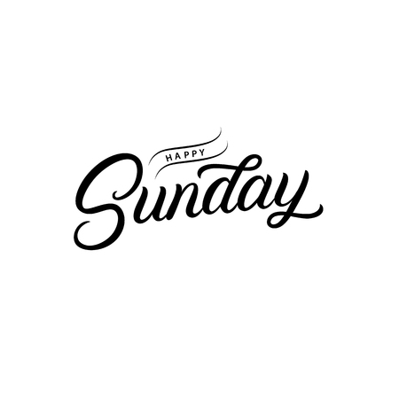 Happy Sunday hand written lettering quote. Modern brush calligraphy phrase. Inspirational quote for office card, poster, photo overlays. Vector illustration. Vektorové ilustrace