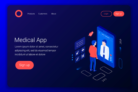 Medical consultation isometric concept. Doctor talks to the patient through the screen. Online diagnostics. Online medical application. Flat 3d style. Landing page template. Vector illustration.