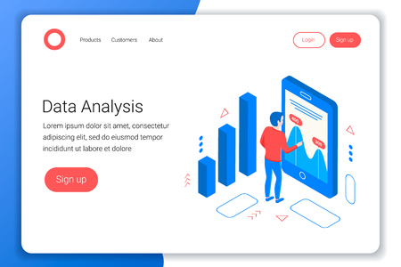 Data analysis isometric concept. Analyst looks at the charts and graphs. Flat 3d style. Landing page template. Vector illustration.