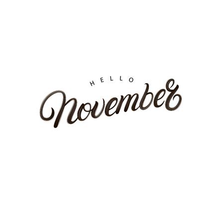 Hello November hand written lettering. Motivation quote. Modern brush calligraphy phrase for card, poster design. Vector illustration. 矢量图像