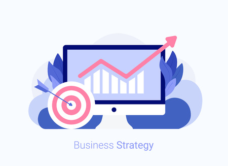 Business strategy concept. Laptop with chart and target. Business success. Trendy flat style. Vector illustration.
