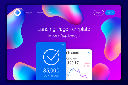 Creative design with plastic shapes. Modern style abstraction background. Abstract background of liquid colorful shapes. Fluid shapes composition. . Mobile app landing page template. Vector Ilustração