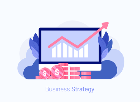 Business strategy concept. Laptop with chart and money. Business success. Trendy flat style. Vector illustration. Ilustração