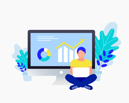 Business strategy concept. Data analysis, investment, business success. Analyst work near laptop. Financial review with laptop and infographic elements. Trendy flat style. Vector illustration.
