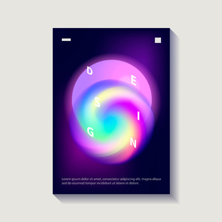 Creative cover or poster design template. Abstract shapes with vibrant gradients. Modern style abstraction background. Abstract background of liquid colorful shapes. Futuristic design. Vector Ilustração