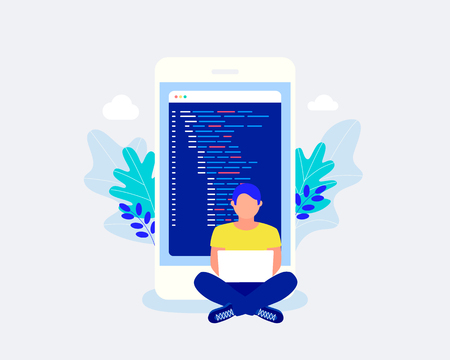 Mobile app development concepts. Man sitting near big smartphone and coding mobile app. Trendy flat style. Vector illustration.