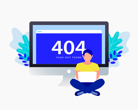 404 error concept. Man are sitting near laptop with 404 error. Repair sites. Use for web page, banner, presentation, social media, documents, posters. Trendy flat style. Vector illustration.