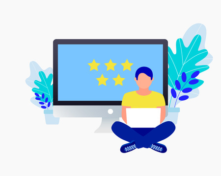 Rating flat concept. Man puts a rating of 5 stars near a laptop. Trendy flat design. Vector illustration.