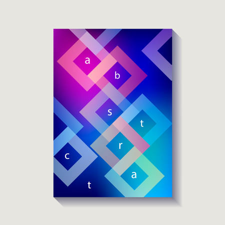 Minimalistic design cover, poster. Modern diagonal abstract background. Geometric element. Transparent colorful rombs diagonal elements. Vector illustration. Ilustração