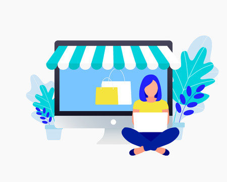 Online shopping concept. Young woman shop online using laptop. Trendy flat style. Vector illustration.