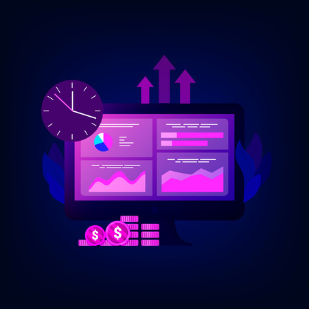 Data analysis concept. Competitor analysis. Laptop with charts and graphs, magnifier, money, timeclock. Business success. Trendy flat style. Vector illustration. Ilustração