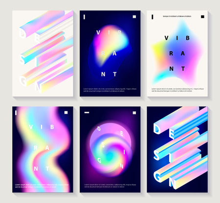 Set of creative design posters with vibrant gradient shapes, creative typography. Modern style abstraction background. Abstract background of liquid colorful shapes. Futuristic design covers, banners, postesr. Vector Ilustração