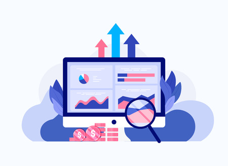 Data analysis concept. Seo web page optimization. Competitor analysis. Laptop with charts and graphs, magnifier, money. Trendy flat style. Vector illustration.