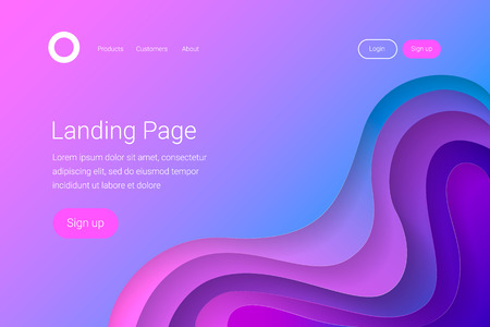 Landing page template. 3D abstract gradient paper cut waves. Trendy style. Vector illustration.