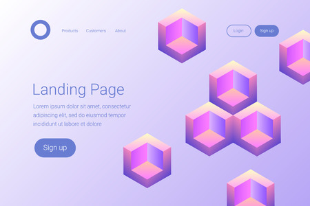 Creative design with isometric geometric shapes. Modern style abstraction background. Abstract background of geometric colorful shapes. Landing page template. Vector illustration.