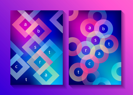 Set of minimalistic design covers, posters. Modern diagonal abstract background. Geometric element. Transparent circles and rombs diagonal elements. Vector illustration.