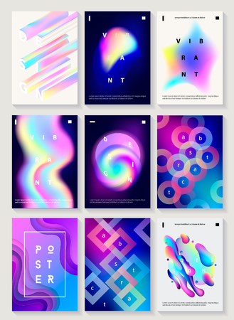 Set of 9 creative design posters. Modern style abstraction background of liquid colorful shapes, circles, geometric polygon, crystal, vibrant gradient, paper cut shapes. Futuristic design. Vector