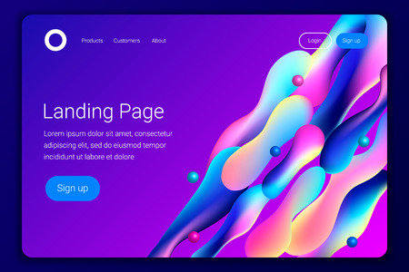 Creative design with plastic shapes. Modern style abstraction background. Abstract background of liquid colorful shapes. Fluid shapes composition. Futuristic design. Landing page template. Vector.